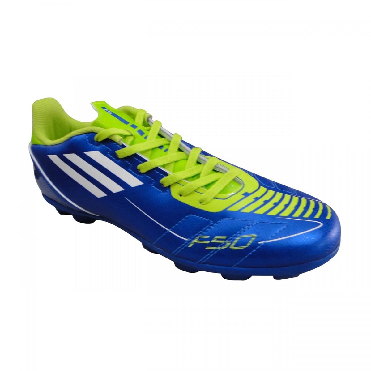 Chuteira Adidas F5 Infantil 3052 - AZUL BRANCO VERDE LIMAO ... fbcfc604f5689