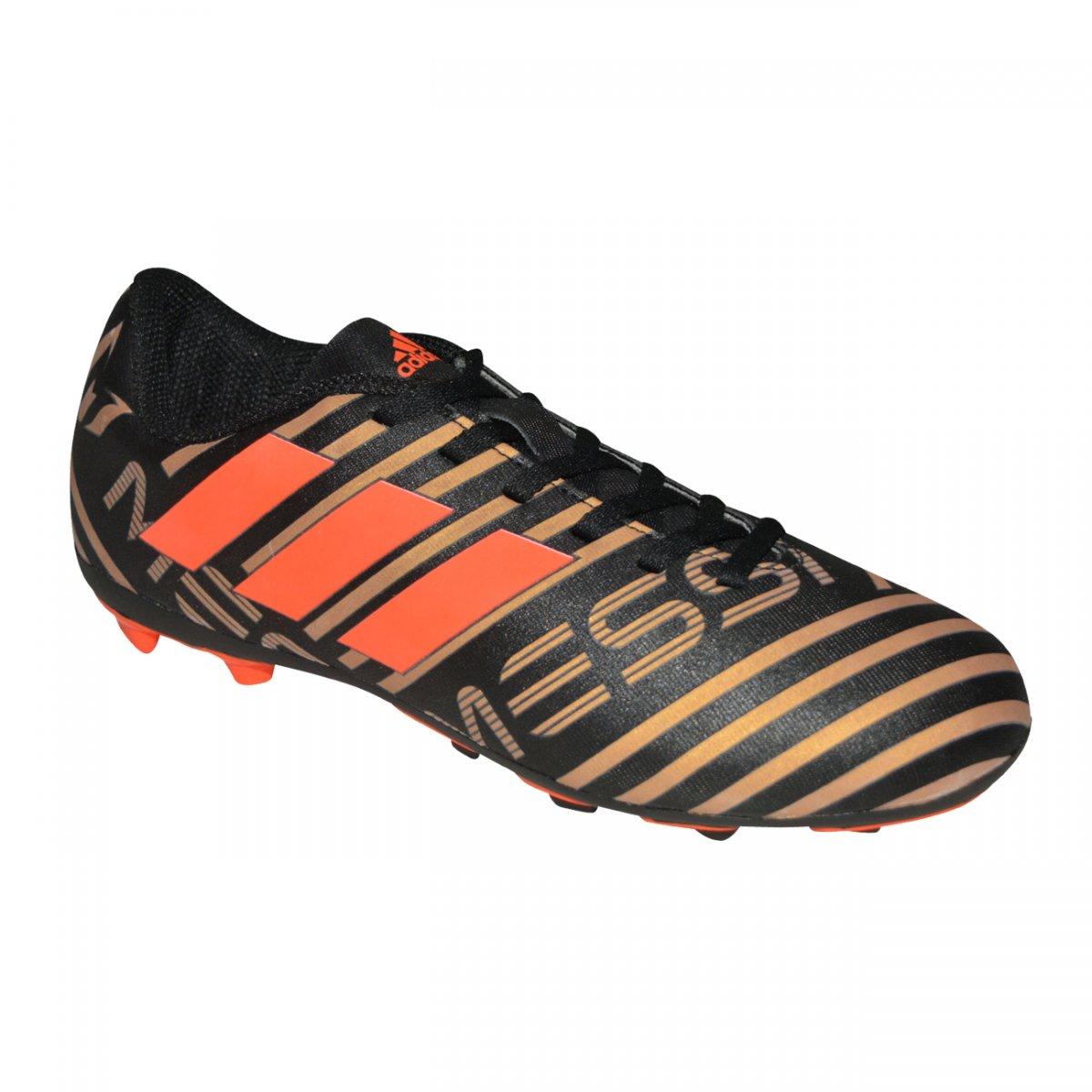 66a4d19600 Chuteira Adidas Nemeziz Messi 17.4 Juvenil CP9210 - Preto dourado laranja -  Chuteira Nike