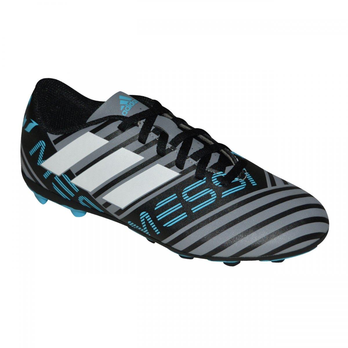 4fa60a87eb Chuteira Adidas Nemeziz Messi 17.4 Juvenil CP9211 - Chumbo preto branco -  Chuteira Nike