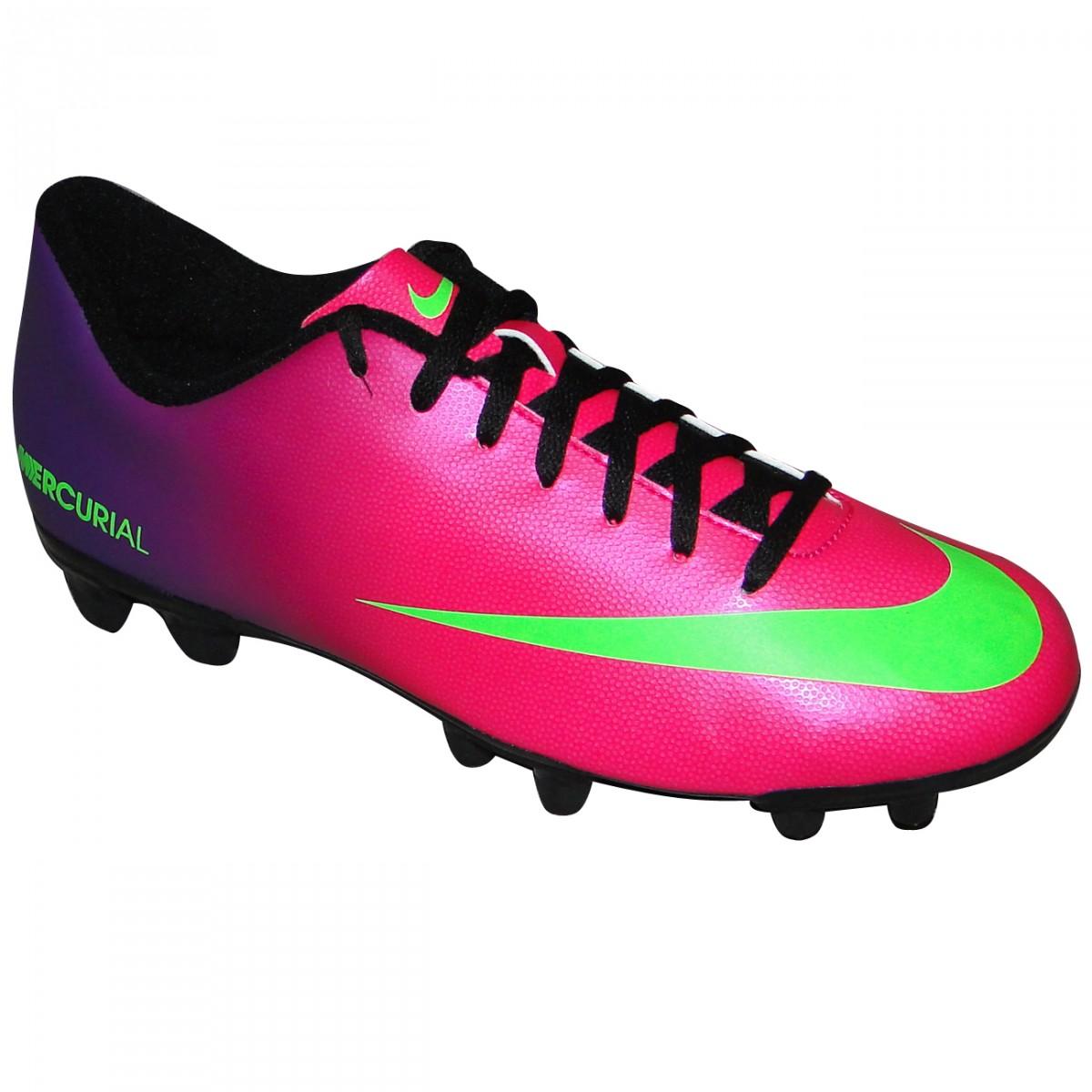 9894c6590f253 Chuteira Nike Mercurial Vortex 573873-635 - Pink/Roxo/Limão - Chuteira Nike,  Adidas. Sandalias Femininas. Sandy Calçados