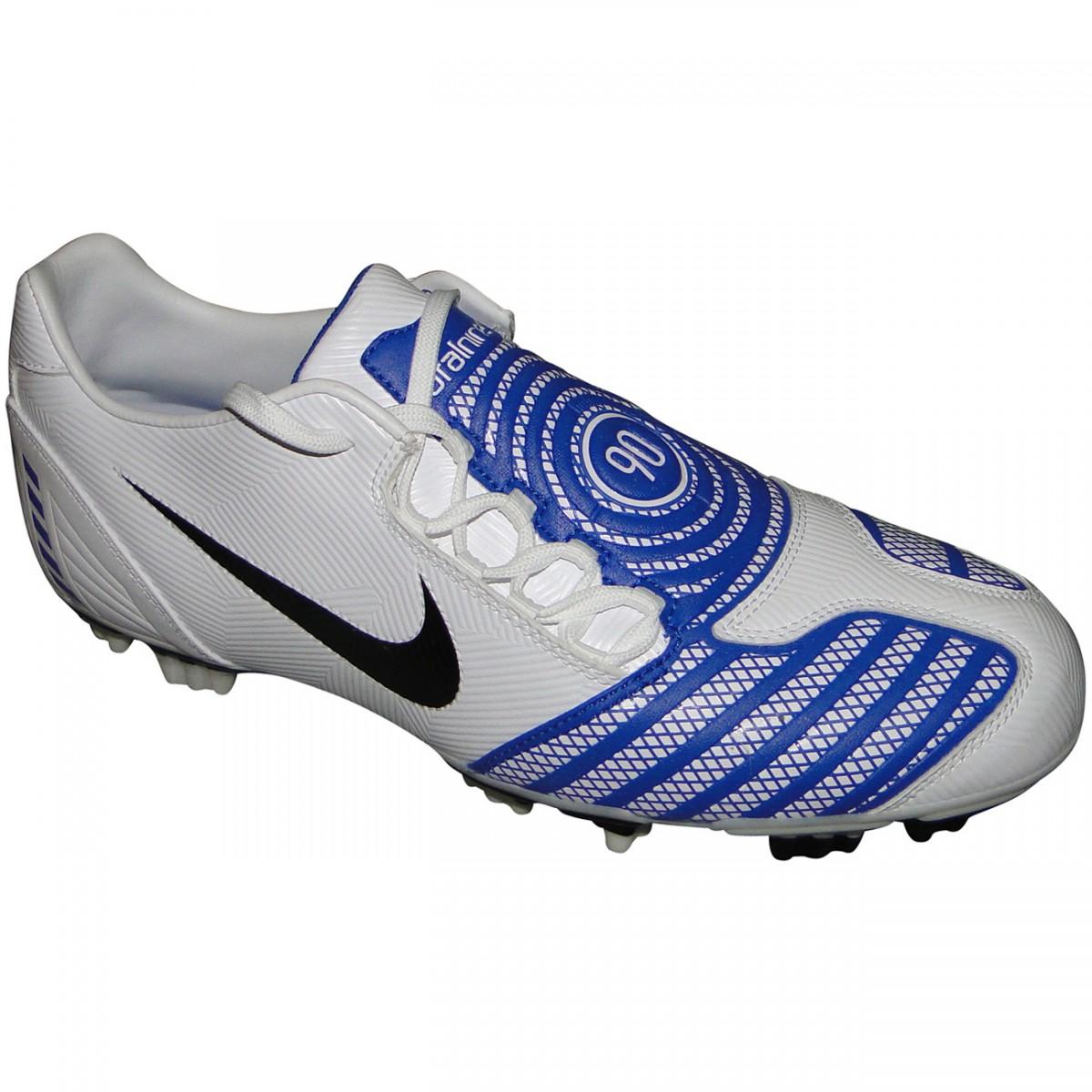 b9a71bab6fd96 Chuteira Nike T90 Shoot 6034 - BRANCO/AZUL - Chuteira Nike, Adidas.  Sandalias Femininas. Sandy Calçados