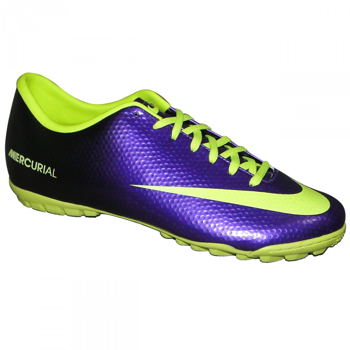 4af4b7d5384b1 Chuteira Society Nike Mercurial Victory IV 558561 570 - Roxo Limão - Chuteira  Nike