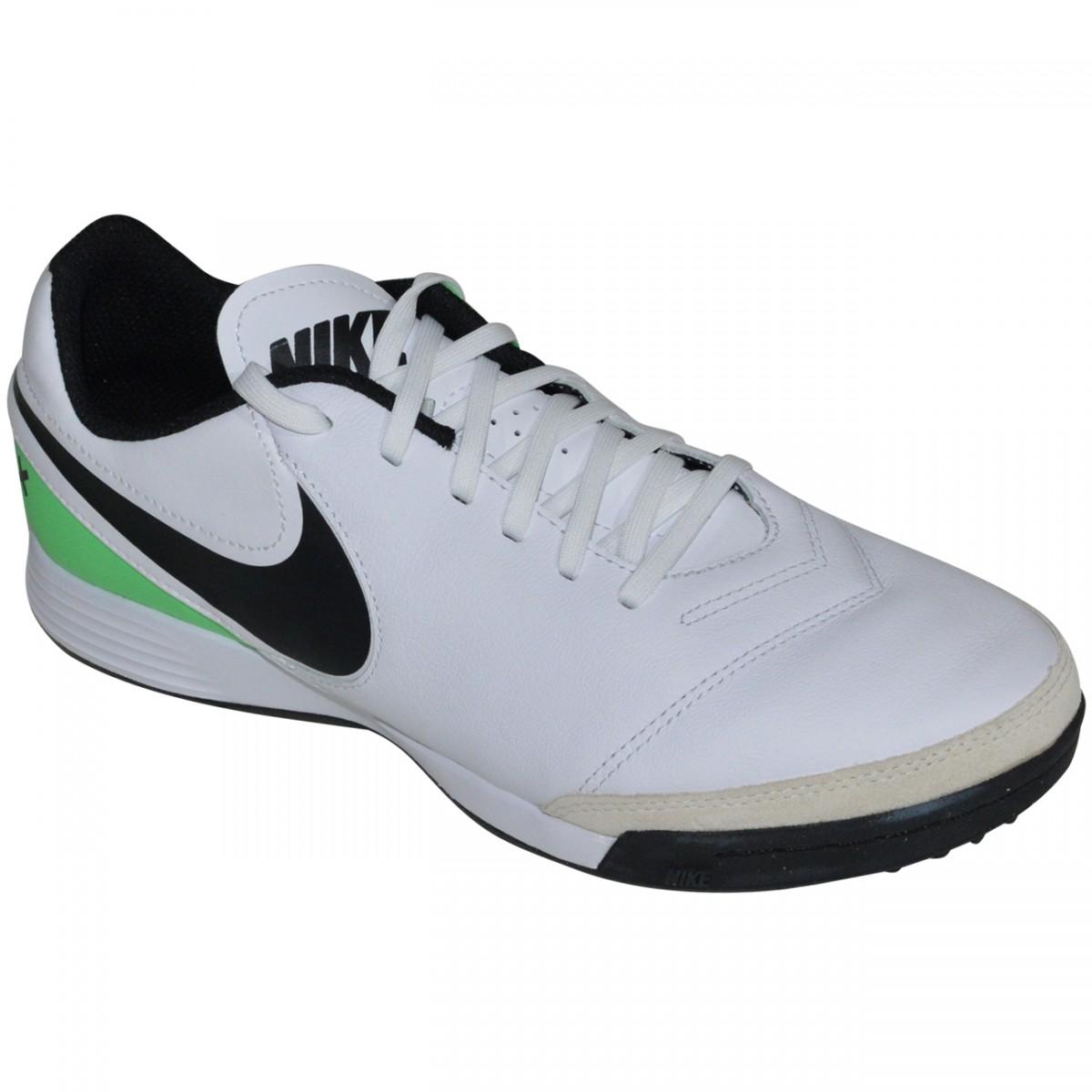 8f77b81ed5 Chuteira Society Nike Tiempox Genio II Leather 819216 103 - Branco Preto Verde  - Chuteira Nike