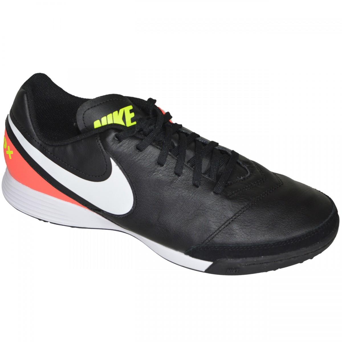 254d68964584e Chuteira Society Nike Tiempox Genio II Leather 819216 018 -  Preto/Coral/Branco - Chuteira Nike, Adidas. Sandalias Femininas. Sandy  Calçados