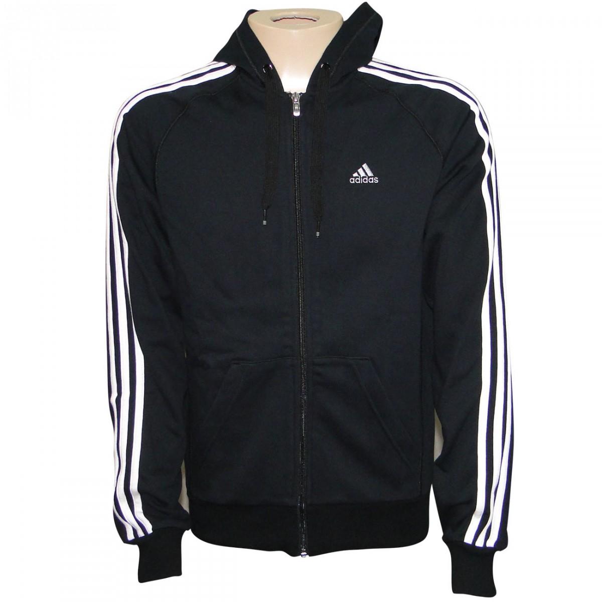 0501cff07 Jaqueta Adidas Ess 3s Fz Hood 0802 - PRETO/BRANCO - Chuteira Nike, Adidas.  Sandalias Femininas. Sandy Calçados