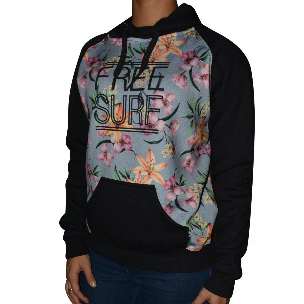02b39c265b8 Moletom Free Surf Flower Feminino 121007029 - Preto - Chuteira Nike ...