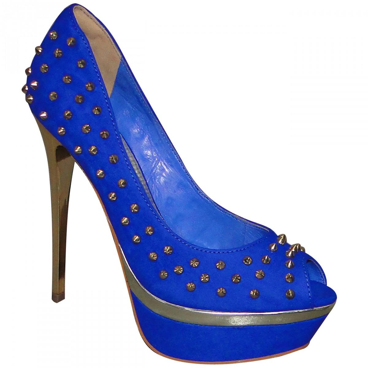 b1fd700777 Sapato Via Marte Ref.13-1503 13-1503-121180 - Azul Dourado - Chuteira Nike