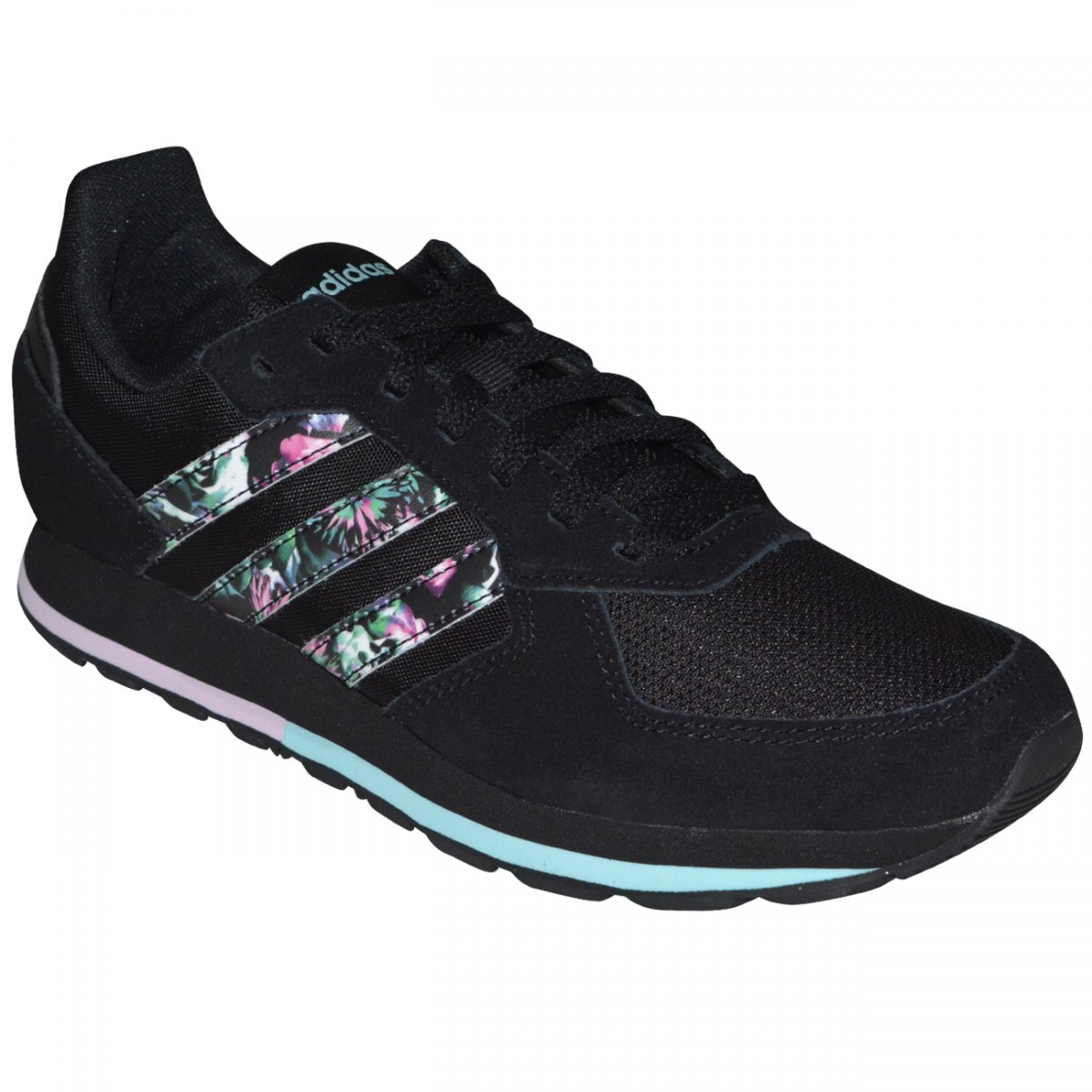 1ff4f5fc68 Tenis Adidas 8K DB1815 - Preto/floral - Chuteira Nike, Adidas. Sandalias  Femininas. Sandy Calçados