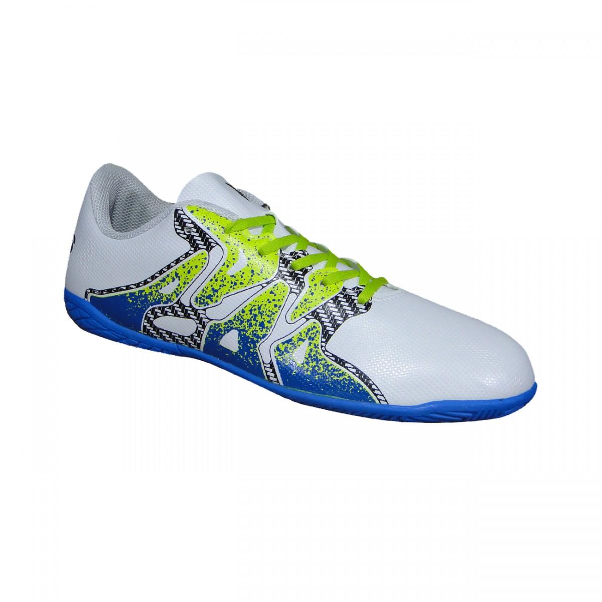 c516016e98 Tenis Adidas X 15.4 Infantil S74606 - Branco Limão Azul - Chuteira Nike