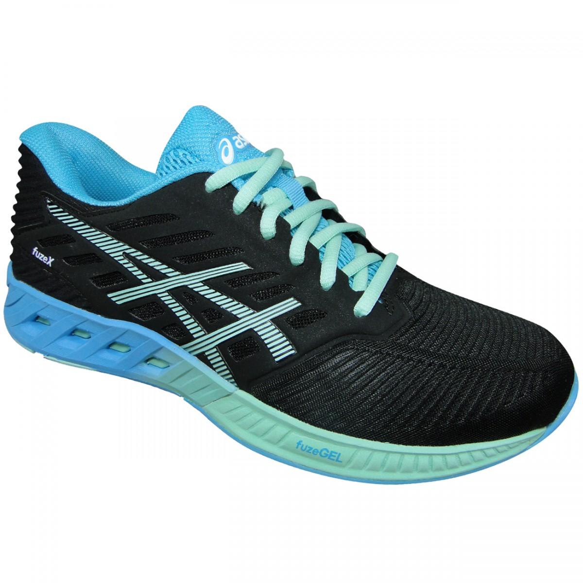 4db29b043ec Tenis Asics FuzeX T689N 9067 - Preto Verde Azul - Chuteira Nike ...