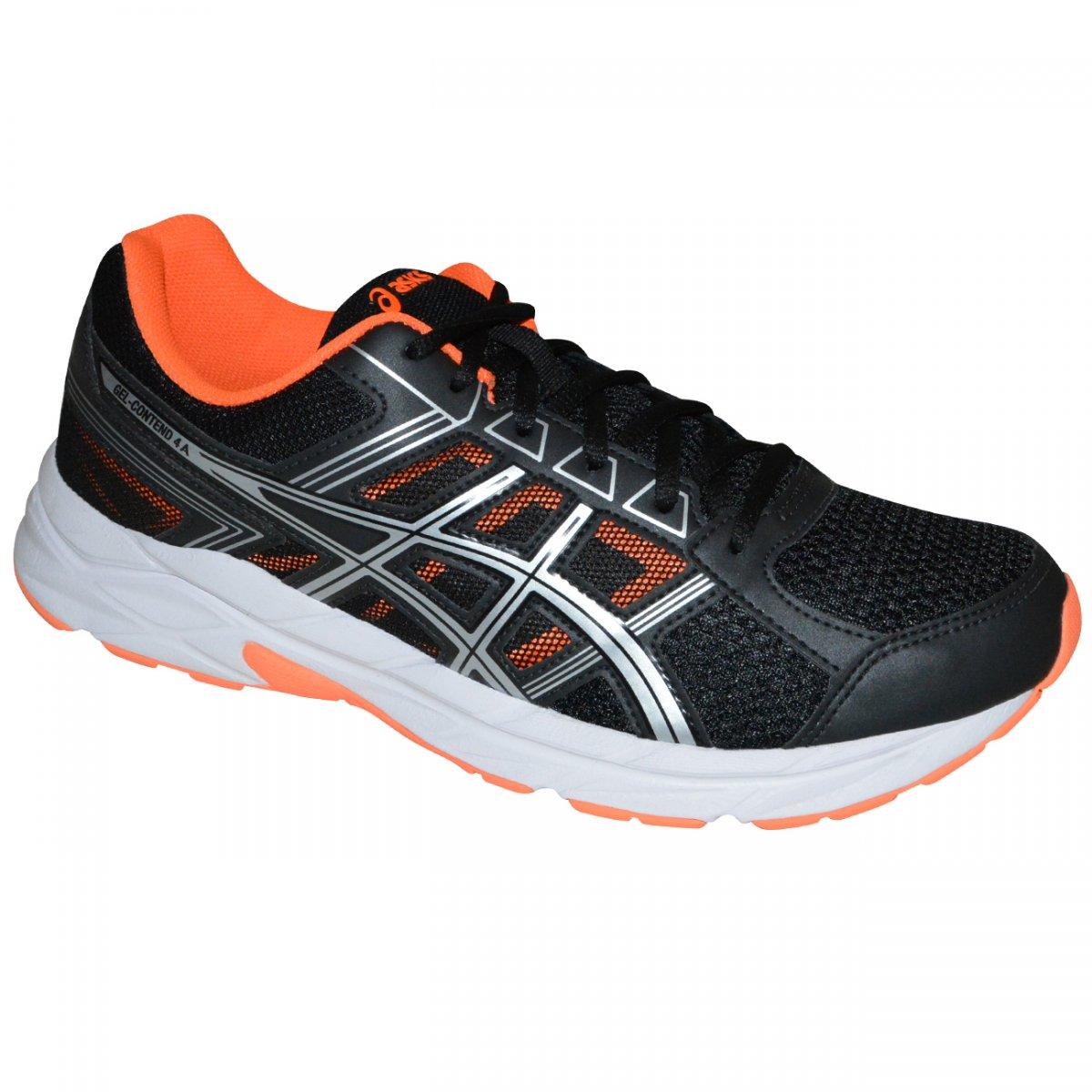 Tenis Asics Gel-contend 4 T026A 9092 - Preto prata laranja - Chuteira Nike 5f6181556afb5