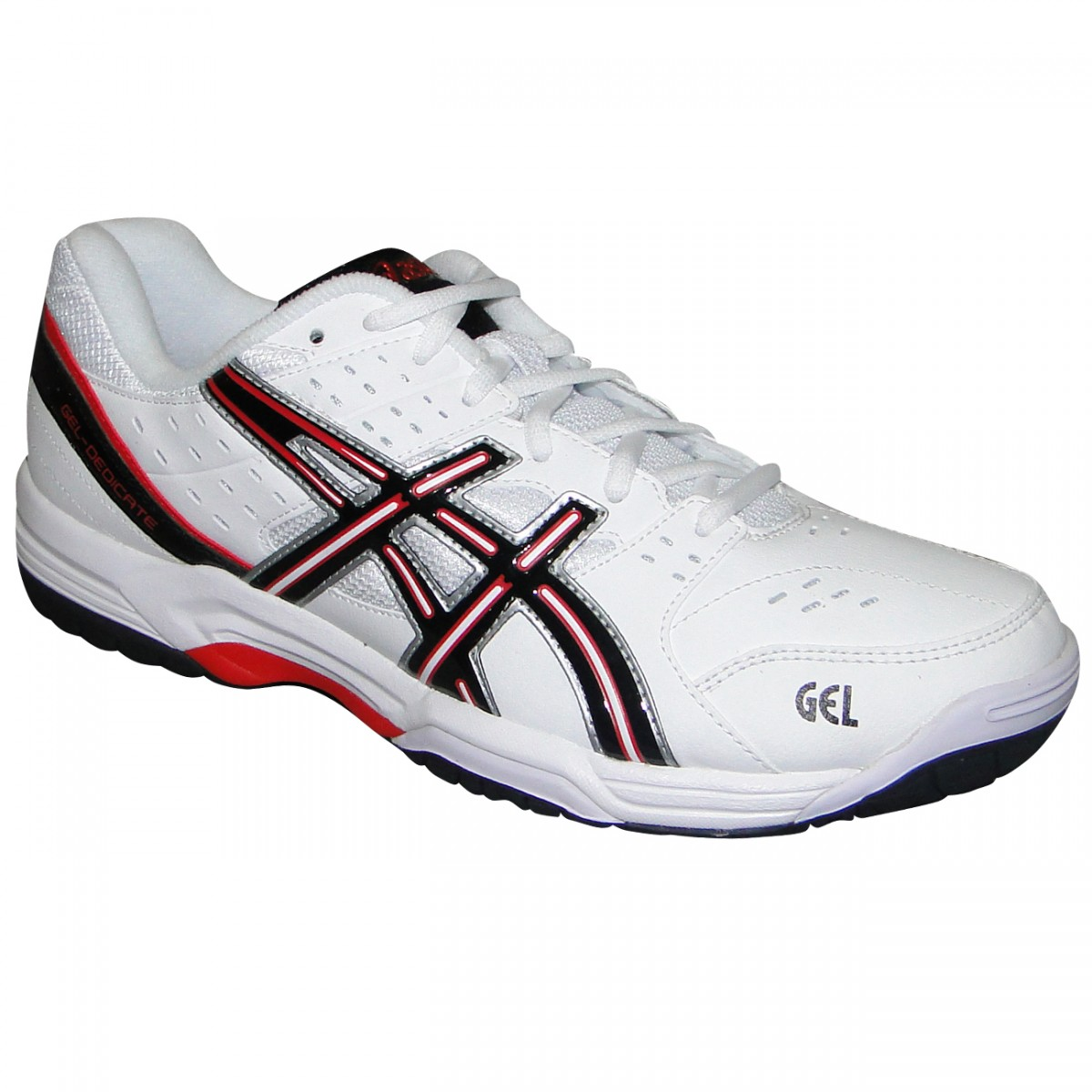Tenis Asics Gel-Dedicate 3 E308Y 0199 - Branco Preto Vermelho ... c1faa743f06e3