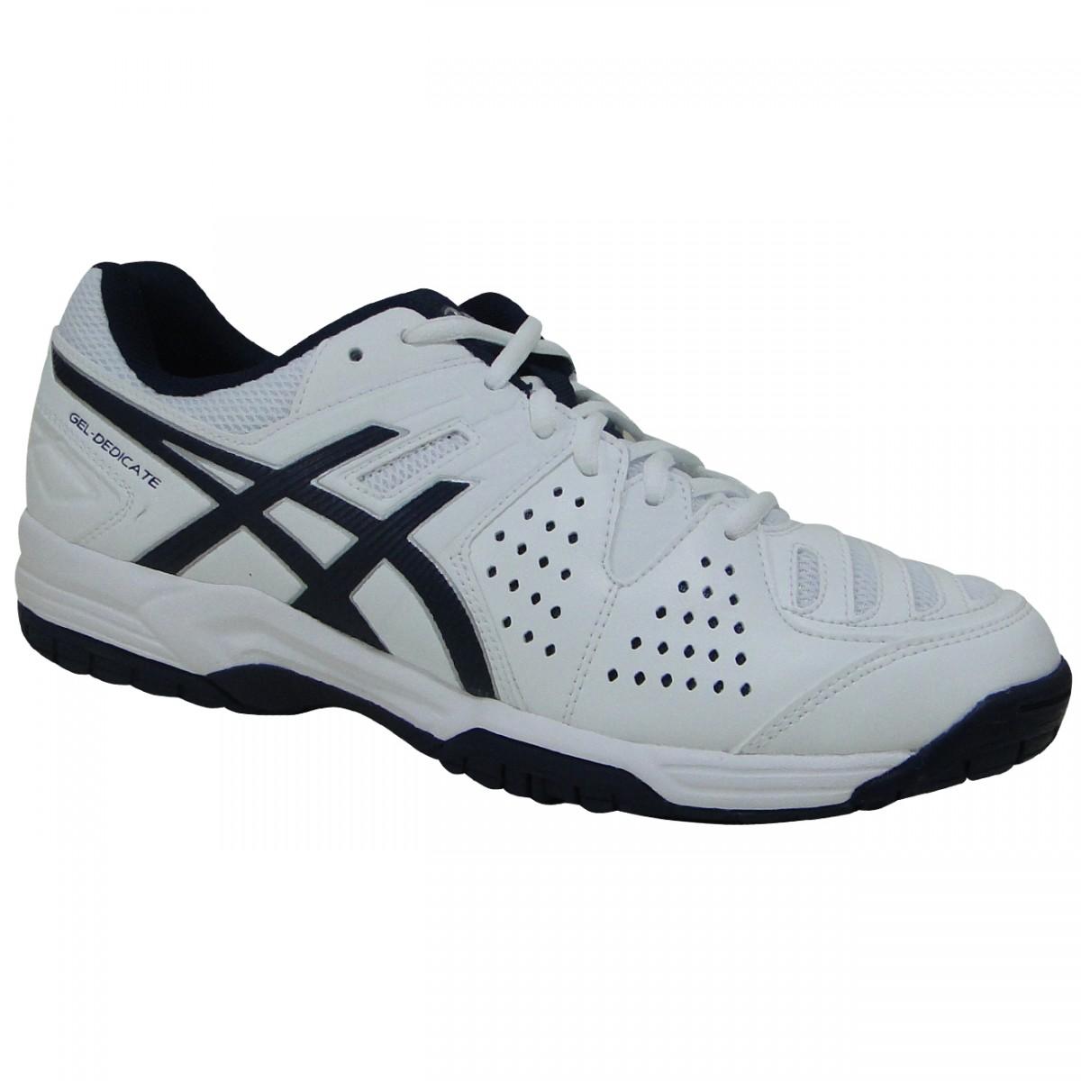 234b799bb00 Tenis Asics Gel-Dedicate 4 E507Y 0150 - Branco Marinho - Chuteira Nike