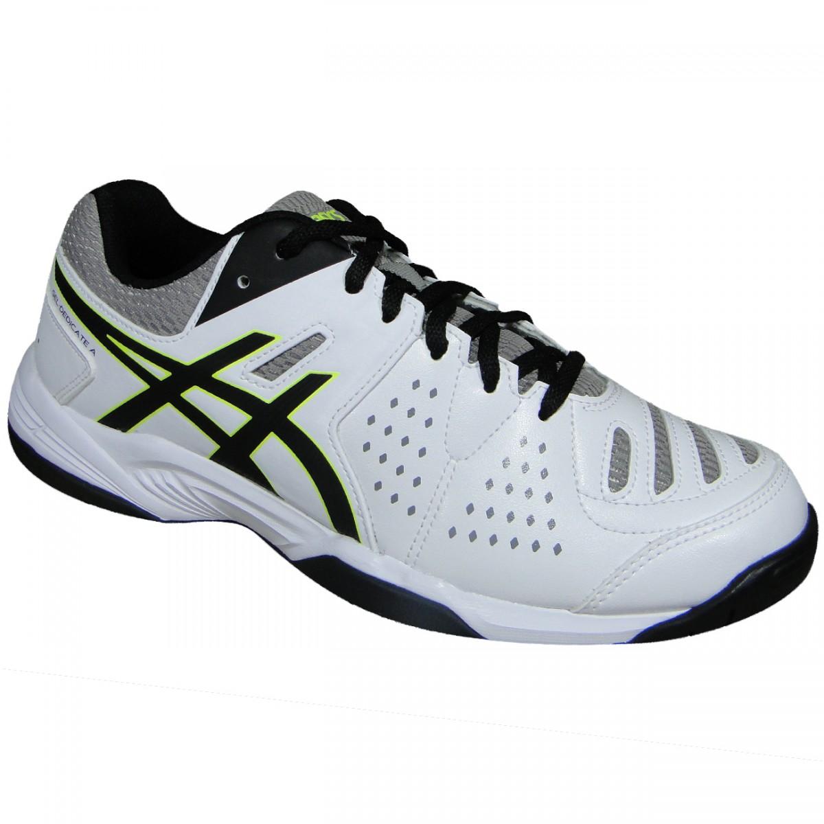 Tenis Asics Gel-Dedicate 4 T002B 0190 - Branco Preto Limão - Chuteira Nike 291f18a49815c