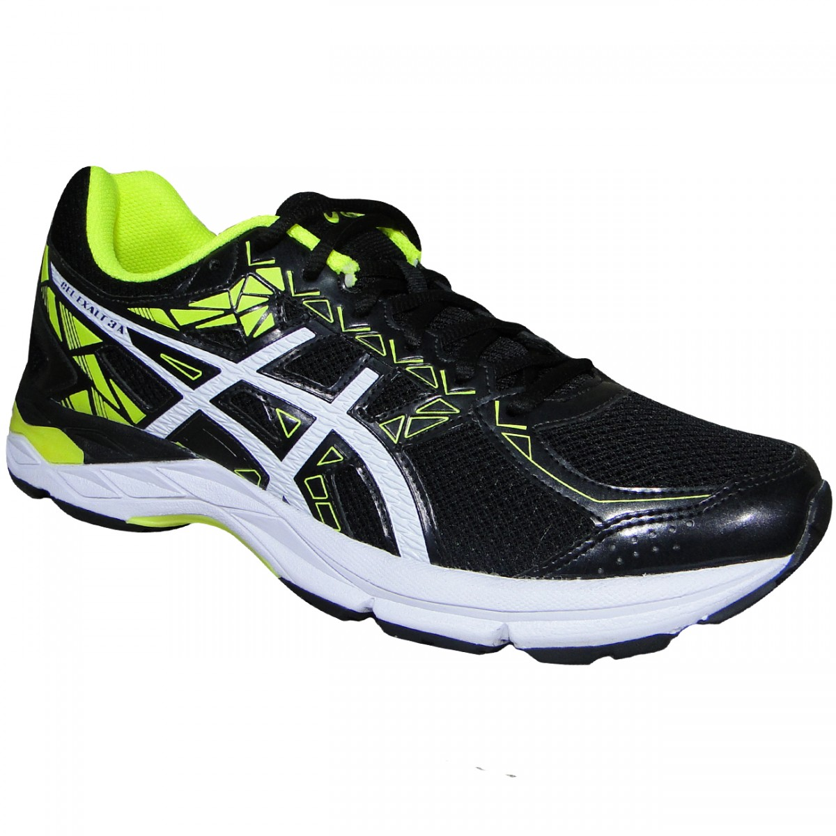 Tenis Asics Gel-Exalt 3 T013A 9001 - Preto Branco Limão - Chuteira Nike 7100008fa5380