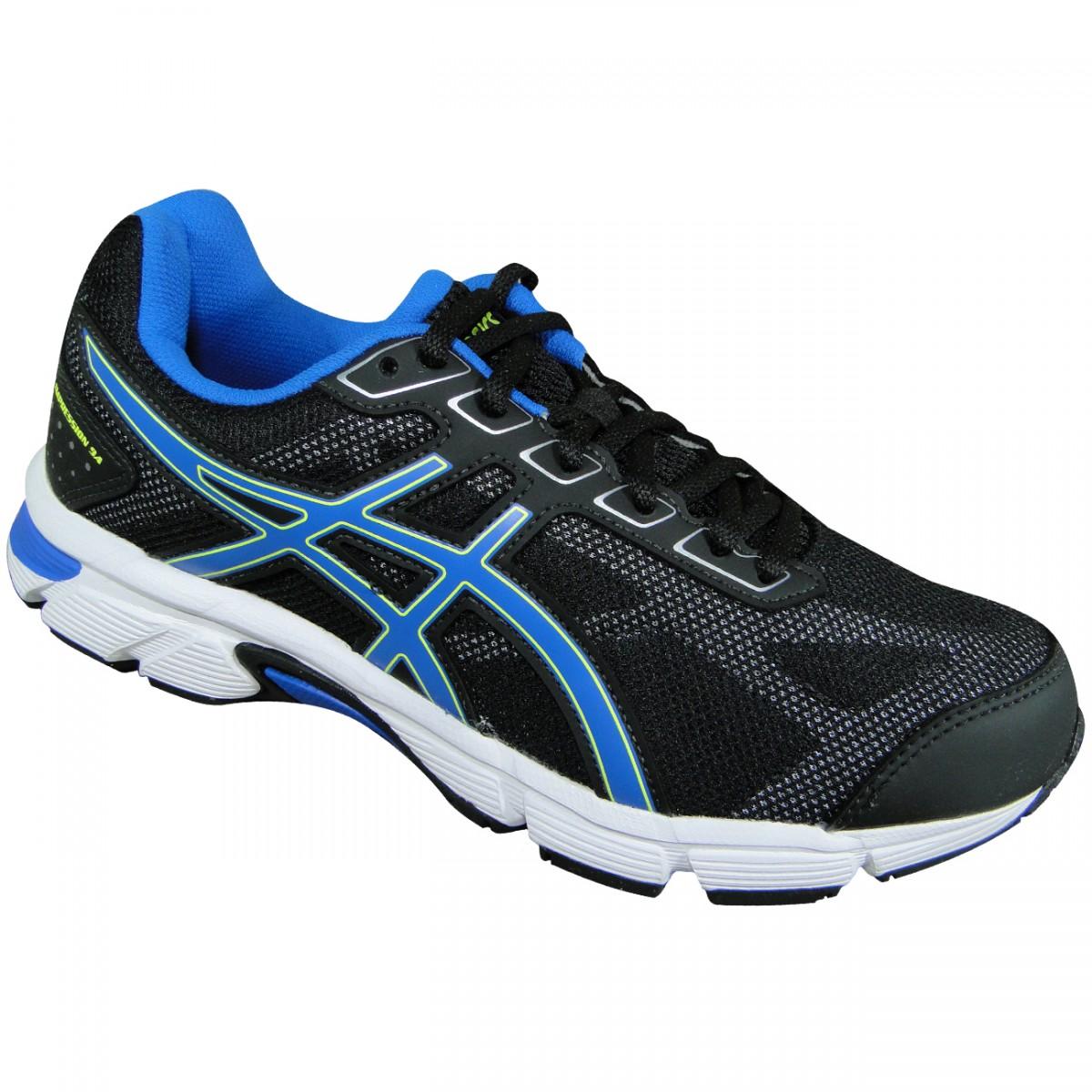d93cfa6705 Tenis Asics Gel-Impression 9 T021A 9039 - Preto Azul Branco - Chuteira  Nike