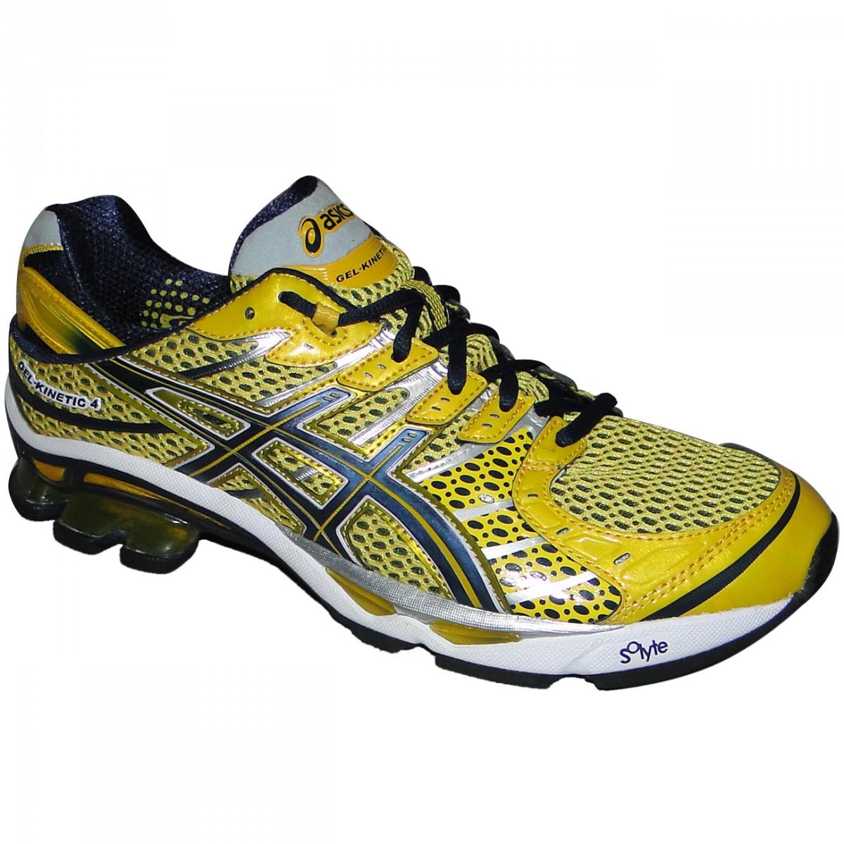 Tenis Asics Gel-Kinetic 4 T133Q-0450 - Amarelo Azul - Chuteira Nike ... aa831330f5126