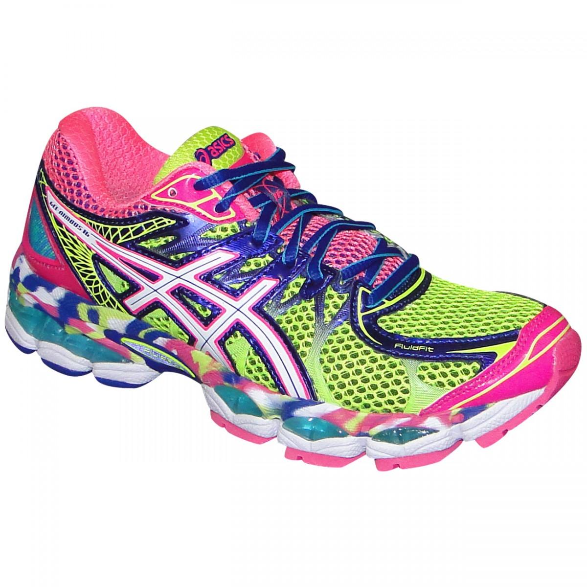 aef39e9c82 Tenis Asics Gel-Nimbus 16 T485Q 0720 - Limão Uva Rosa - Chuteira Nike