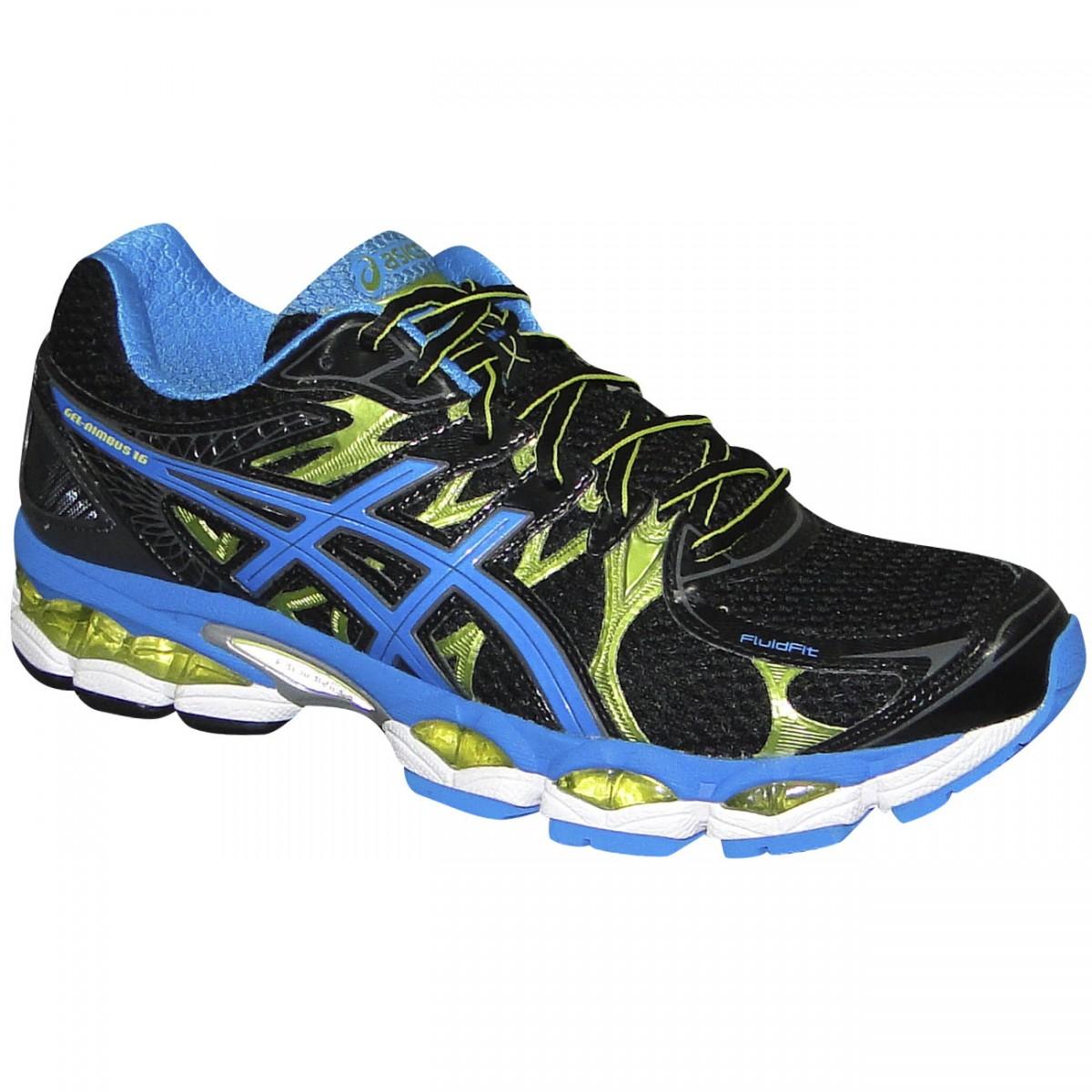 ... 44f567e014a Tenis Asics Gel-Nimbus 16 T435N 9842 - Preto Azul Limão -  Chuteira Nike ... 4212e8d6c7ba5