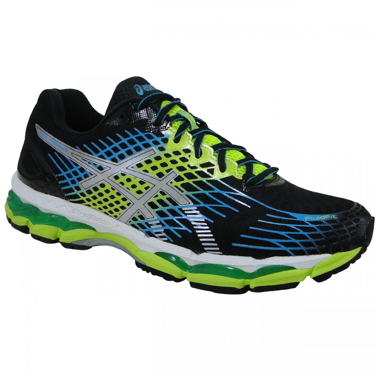 Tenis Asics Gel-Nimbus 17 T507N 9901 - Preto Verde Branco - Chuteira Nike 334ff4b638b4f