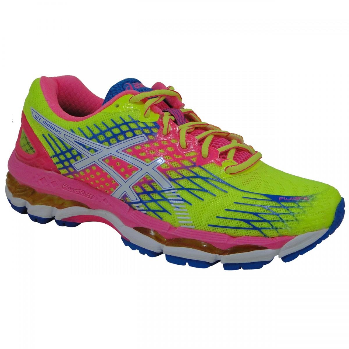 Tenis Asics Gel-Nimbus 17 T557N 0701 - Limão Pink Branco - Chuteira Nike a355980d22206