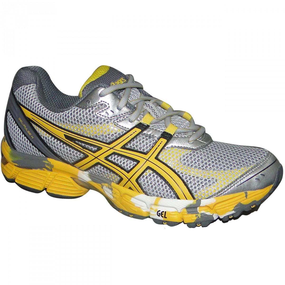 0b2f34b51ce Tenis Asics Gel-Pulse 4 T240Q-9304 - Cinza Amarelo - Chuteira Nike ...