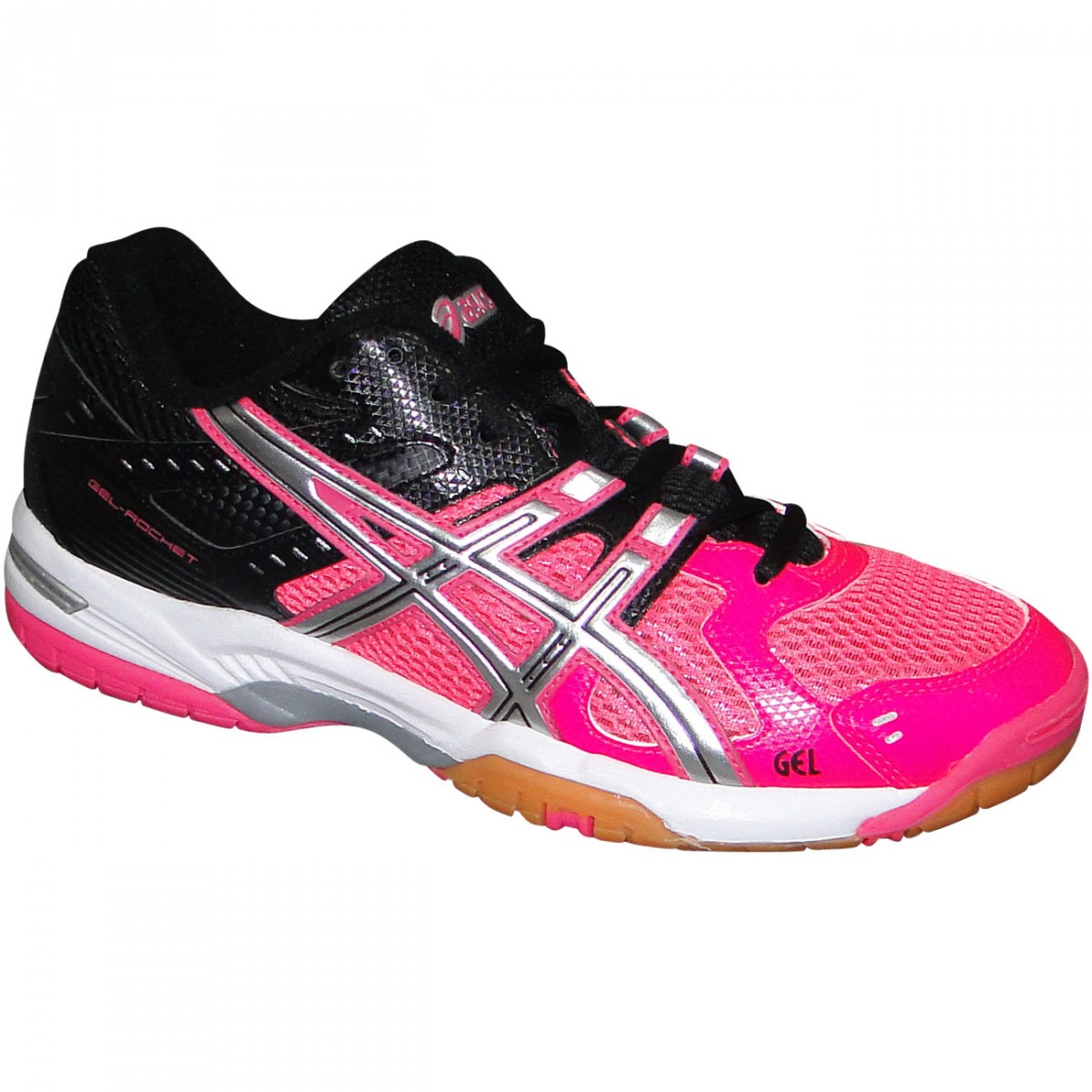 Tenis Asics Gel-Rocket 6 B257N 2193 - Pink Preto Branco - Chuteira ... 13249d7821eef