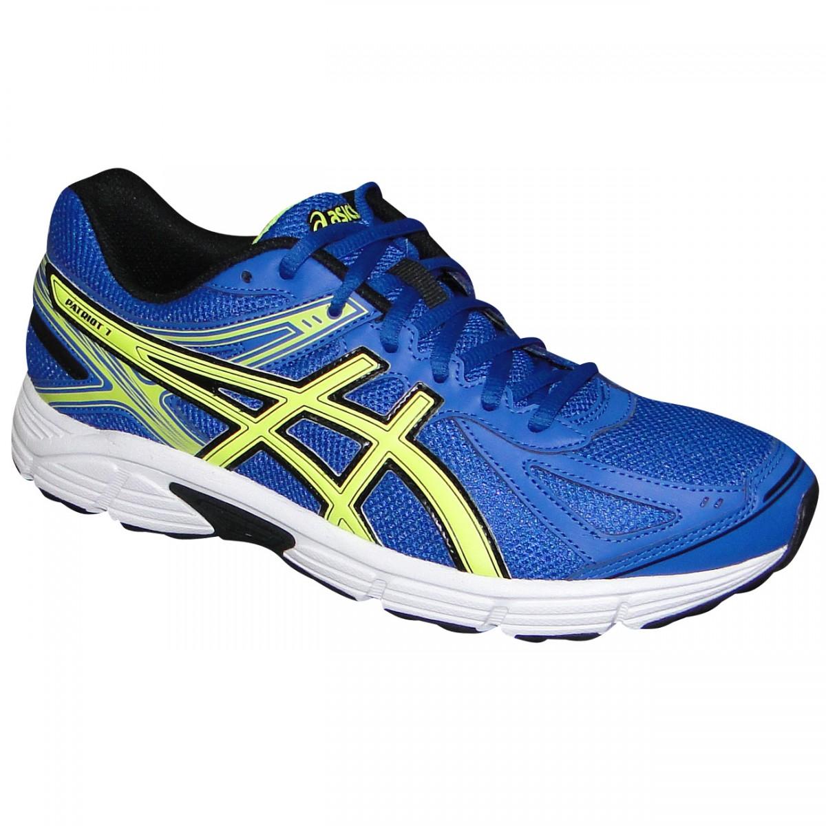 size 40 8963b 3d0b9 Tenis Asics Patriot 7 T4D1N 4207 - Azul Limão Branco - Chuteira Nike,  Adidas. Sandalias Femininas. Sandy Calçados