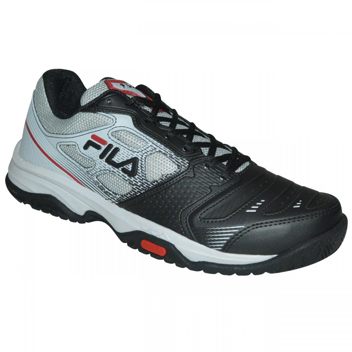 Tenis Fila Top Spin 2.0 744722 - Preto prata vermelho - Chuteira Nike dfd90b7ed2781