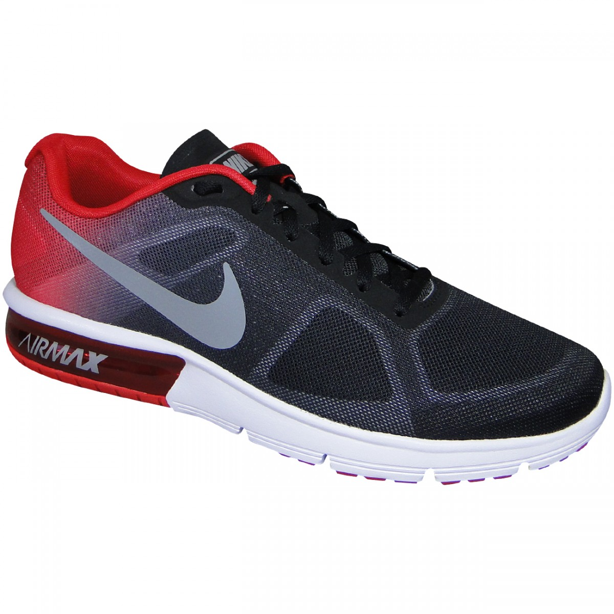 e6418296480b7 Tenis Nike Air Max Sequent 719912 008 - Preto/Vermelho/Cinza - Chuteira Nike,  Adidas. Sandalias Femininas. Sandy Calçados