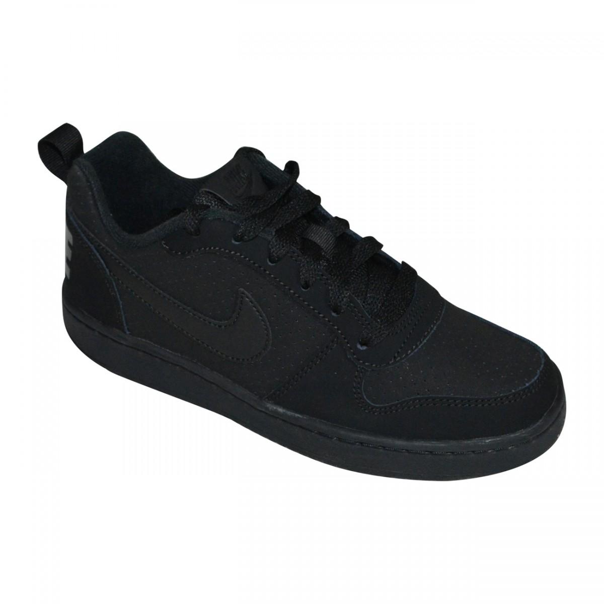 0e31f9d9cf4 Tenis Nike Court Borough Low Juvenil 839985 001 - Preto Preto - Chuteira  Nike