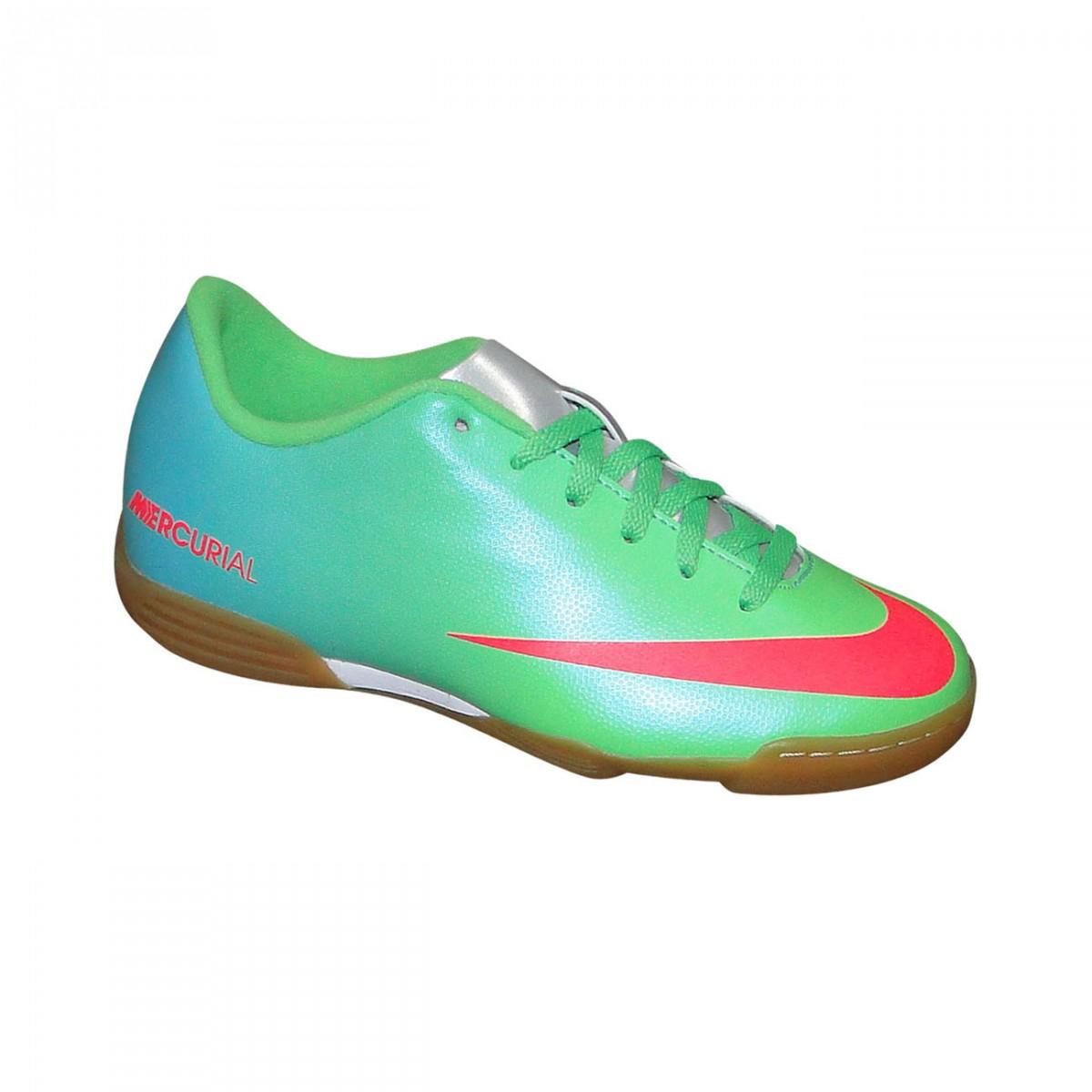 Tenis Nike Mercurial Vortex Infantil 588150 300 - Verde Azul Coral ... 0adc5426519f2