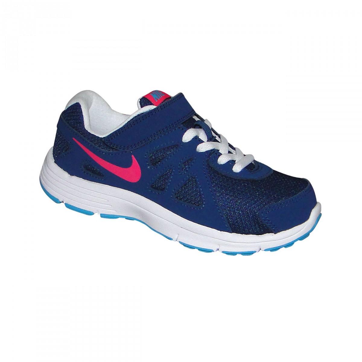 c4b50fc6d6e Tenis Nike Revolution 2 Infantil 555091 400 - Marinho Branco Pink ...
