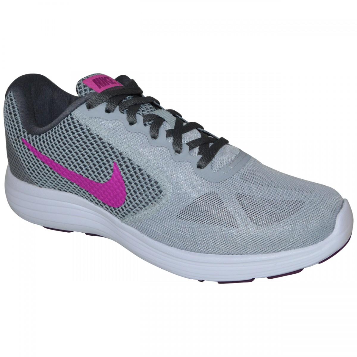 Tenis Nike Revolution 3 819303 009 - Cinza Chumbo Pink - Chuteira Nike 6dde69ad27f59