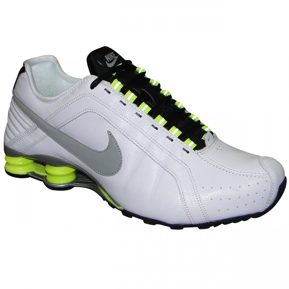 11b38845c64 Tenis Nike Shox Junior 454340 108 - Branco Cinza Limão - Chuteira ...