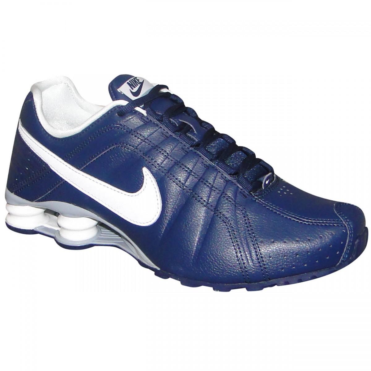 adbf45b7b38 Tenis Nike Shox Junior 454340 402 - Marinho Branco - Chuteira Nike ...