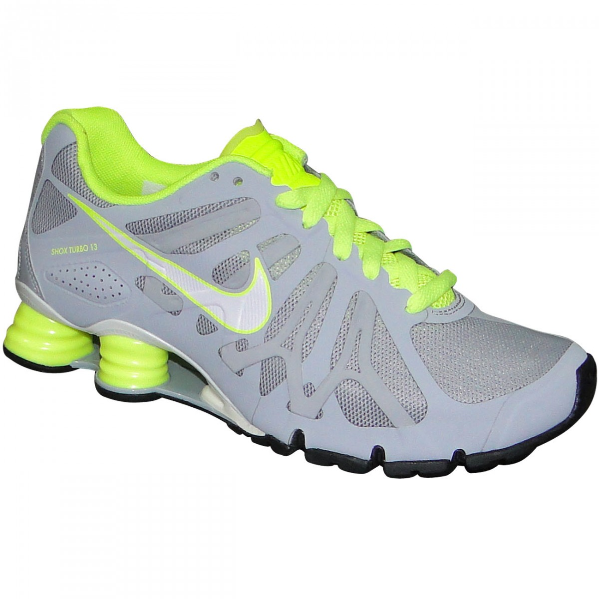 24cafe0dbdd3c Tenis Nike Shox Turbo + 13 525156 012 - Cinza/Limão - Chuteira Nike ...