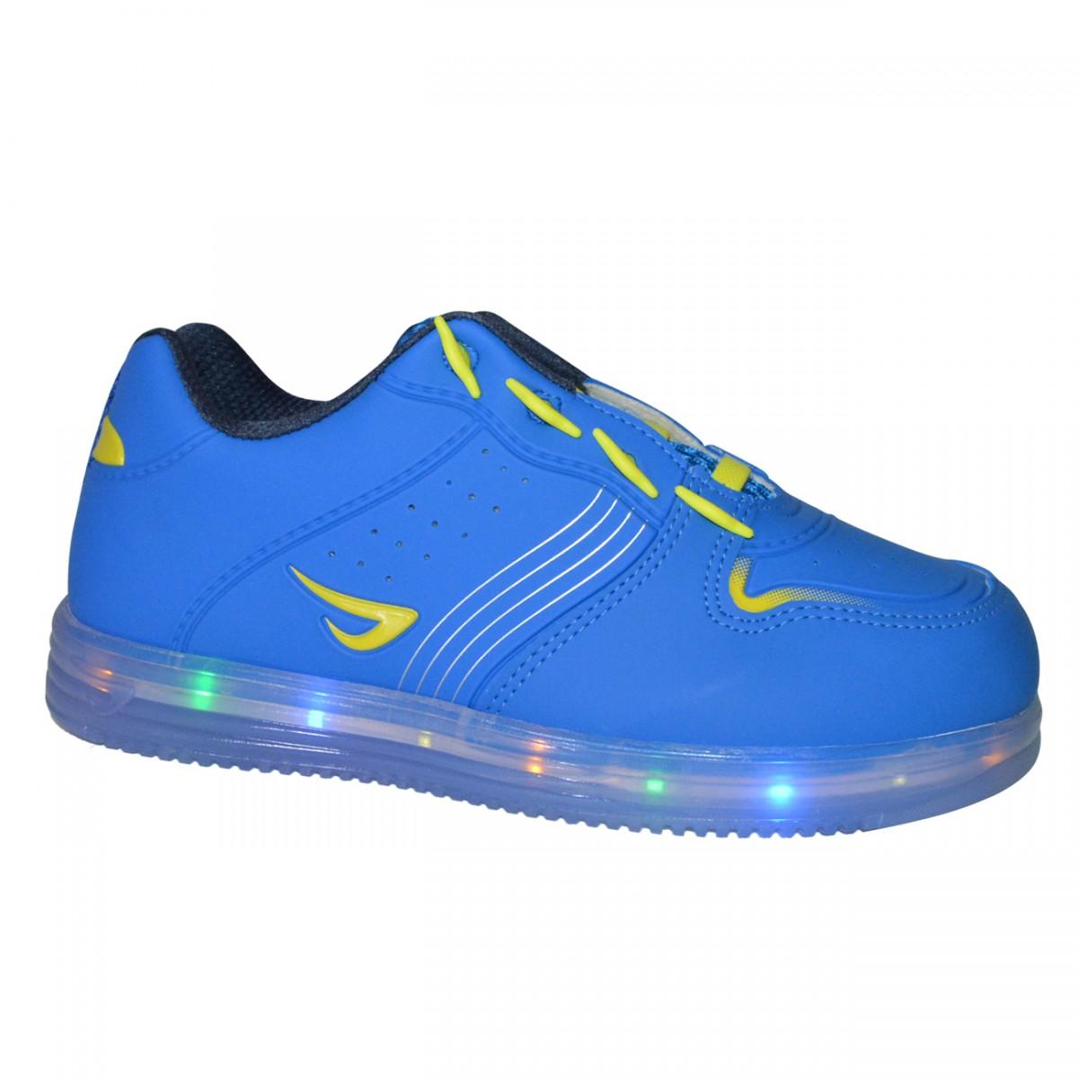 d2699f0a0ca Tenis Ortope Estica e Puxa C Luzinha Juvenil 22210001 - Royal Amarelo - Chuteira  Nike