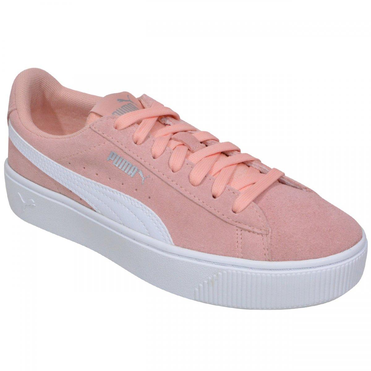 f2487d83dcc Tenis Puma Vikky Stacked SD 369144 07 - Rosa branco - Chuteira Nike ...