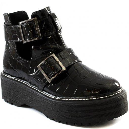 Coturno Open Boot Flatform Inverno Sapato Show 792739262