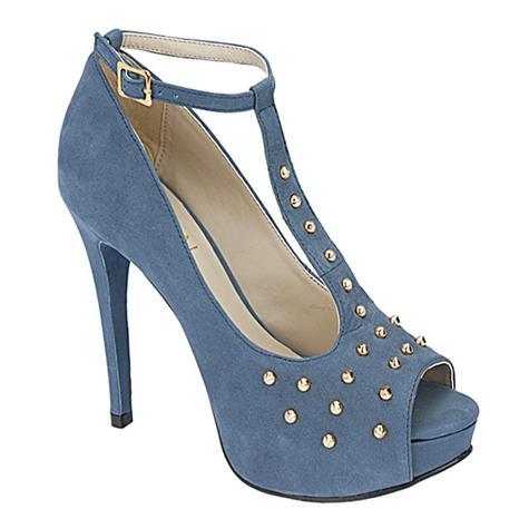 Peep Toe Feminino Salto Alto Azul Belmon -  13146 - 33 a 43