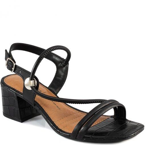 Sandália Bico Quadrado Salto Bloco Croco Verão Dakota Z8102