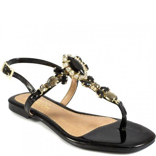 Sandália Rasteira Pedrarias Bico Quadrado Sapato Show B200