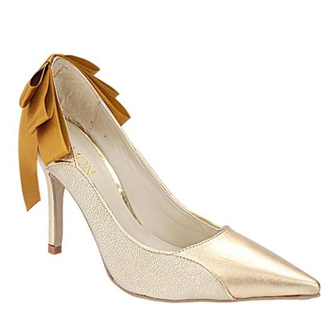 Scarpin Feminino Laço Ouro Belmon - 10213 - 33 a 43