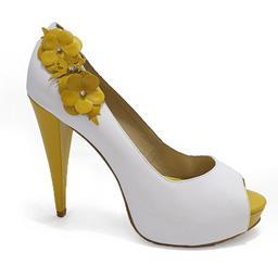 Peep Toe Belmon - 536 - Branco e Amarelo - 33 ao 43.