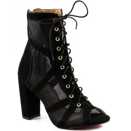 Ankle Boot Tela Salto Bloco Inverno 2020 Sapato Show 1260785
