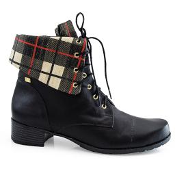 Coturno Com Dobra Xadrez Numeração Especial Sapato Show 965416
