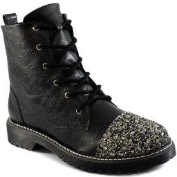 Coturno Tratorado Com Strass Inverno Sapato Show 1761089