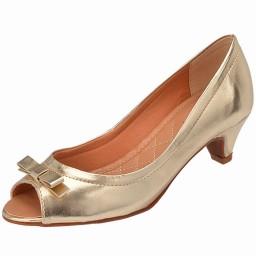 Peep Toe Dourado Elitte - 2055