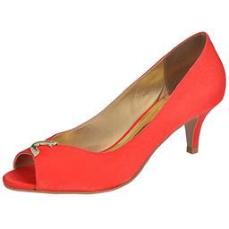 Peep Toe Feminino Fivela Belmon - 23014 - Vermelho - 33 a 43